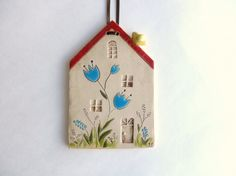 Ceramic house wall hanging clay house pottery by potteryhearts