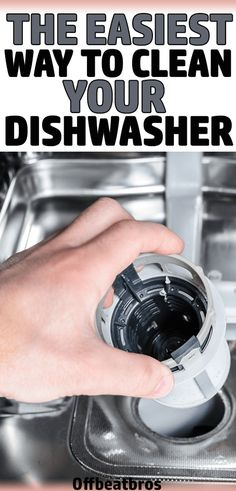 Here is easiest way to clean your dishwasher. This cleaning tip is the only hack you need to get a clean dishwasher easily. And it's important to keep your dishwasher clean as it will lead to better-cleaned dishes. And this cleaning hack just takes 10 min Deep Cleaning Tips, House Cleaning Tips, Spring Cleaning, Cleaning Hacks, Cleaning Checklist, Cleaning Recipes, Cleaning Solutions, Cleaning Supplies, All You Need Is