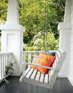 white porch swing - front porch on right side Outdoor Spaces, Outdoor Living, White Porch, Balcony Design, Balcony Ideas, Decks And Porches, Front Porches, Country Porches, Southern Porches
