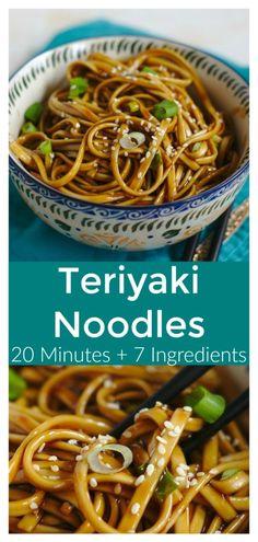 Teriyaki Noodles, Sauce Teriyaki, Homemade Teriyaki Sauce, Asian Noodles, Recipes With Teriyaki Sauce, Hibachi Noodles, Teriyaki Chicken, Beef Recipes, Vegetarian Recipes