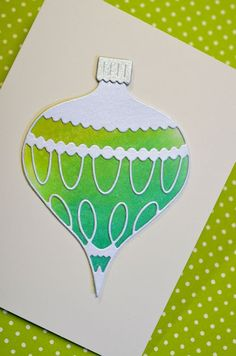 card with watercolor ornament. links to tutorial ... use crayon resist instead of die-cut
