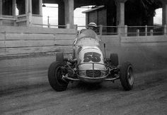 Bob Tattersall pilots the Saylor's Offy in a practice session at the Showground circa 1959. He was the greatest show in Midgets.