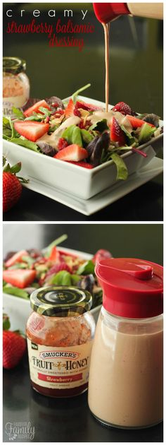 This Creamy Strawberry Balsamic Dressing is the best dressing EVER on strawberry salads. It's a little bit sweet and a little bit of kick from the balsamic vinegar.