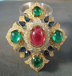 Lovely Vintage Jewels of India Trifari Big Brooch Pin Pave Rhinestones | eBay