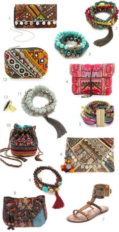 1. Gaia embroidered clutch | 2. colorful set of 5 stretch bracelets with semi-precious stones | 3. pyrite and agate stones bracelet set | 4. cotton fold clutch | 5. Hipanema bracelet | 6. Banjo embellished clutch | 7. bohemian leather sandals | 8. Antik Batik clutch | 9. bracelets in a mix of horn, rosewood, and brass | 10. embroidered pouch handbag | 11. five stretch bracelets with semi-precious stones and a chain tassel | 12. petite, embroidered pouch | 13. large stone ring