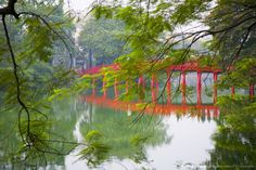Vietnam, Hanoi, Hoan Kiem Lake, Huc Bridge