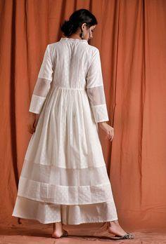 White Anarkali, Anarkali Dress, Anarkali Suits, New Kurti Designs, Designs For Dresses, Off White Dresses, Work Dresses, Designer Wear, Designer Dresses
