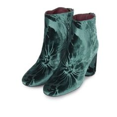 """Limited Edition Topshop Pinball Suede Booties Limited edition Topshop Pinball """"teal"""" green suede booties with floral detail and round heel. Zipper on back. These sold out within a day. Super beautiful and only worn a couple of times! Topshop Shoes"""