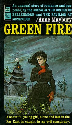 Green Fire by Anne Maybury. Vintage gothic paperback book art / artwork / cover