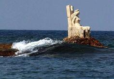 Statue of queen Zenobia in the middle of the Mediterranean Sea, Lattakia, Syria