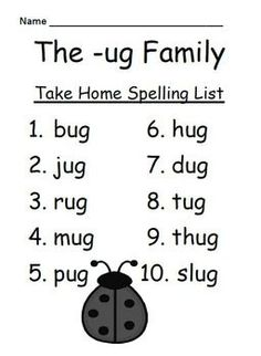 FREEBIE Fern Smith's The -ug Family Spelling {Word Work} Lists & Tests Adorable Bug Theme! Some school districts call it Spelling, some call it Word Work! This packet has both versions! Differentiate your classroom, some students can have the 10 word list and some can have the 15 word list. Also terrific for mixed grade level classes! Your students will love it!