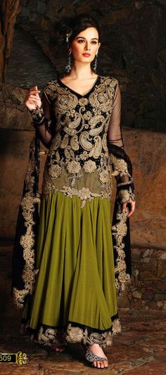$133.56 Black and Green Embroidery with Stone Work Designer Anarkali Suit  24870