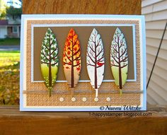 handmade greeting card: One Happy Stamper: The Four Seasons - mini scenes. Stampin' Up! Four Feathers, White Christmas. Designed and created by Naomi Witzke. Paper Cards, Diy Cards, Craft Cards, Feather Cards, Thanksgiving Cards, Fall Cards, Alice, Art Plastique, Creative Cards