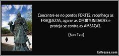 Concentre-se no pontos FORTES, reconheça as FRAQUEZAS, agarre as OPORTUNIDADES e proteja-se contra as AMEAÇAS. (Sun Tzu)