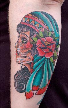 gypsy day of the dead skull tattoo