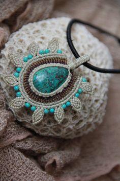 tribal macrame tuquoise flower pendant