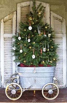 christmas tree in a trough on carriage wheels. shutters