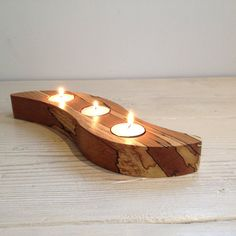 Tealight holder, candle holder (Swirl Oiled), three, 3, Scottish spalted beech wood, wooden, unique, hygge, handmade, tealight, natural