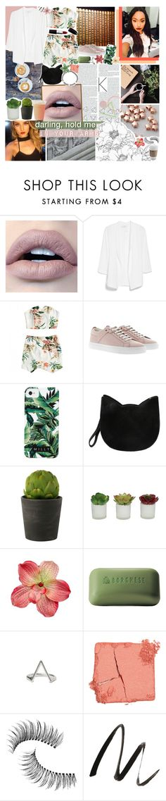 """""""until the sun comes up; ❤️"""" by sadtrashqueen ❤ liked on Polyvore featuring MANGO, HUGO, Milly, Forever 21, Again, Threshold, Clips, Borghese, Illamasqua and Trish McEvoy"""