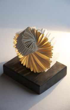 """*Paper Sculpture - """"Whorl"""" by Louisa Boyd (Magnani handmade white wove paper - Book sculpture) Book Sculpture, Abstract Sculpture, Paper Sculptures, Paper Book, Paper Art, Paper Lamps, Paper Crafts, Ouroboros, Paper Structure"""