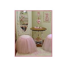Amazing stools!! Wrought iron table and mirror would match her bed beautifully!