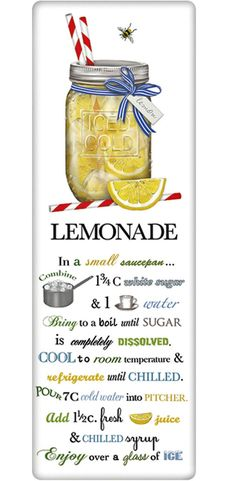 Refreshing Lemonade Recipe 100% Cotton Flour Sack Dish Towel Tea Towel