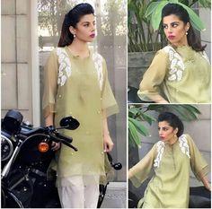 Pakistani Eid ensemble by Ayesha Khurram. Simple Pakistani Dresses, Pakistani Outfits, Kurti Neck Designs, Dress Neck Designs, Lovely Dresses, Stylish Dresses, Formal Dresses, Frock Fashion, Fashion Outfits