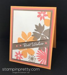 Blooms & Wishes Photopolymer Stamp Set birthday card created by Mary Fish, Stampin' Up! Demonstrator.  1000+ StampinUp & SUO card ideas.  Read more http://stampinpretty.com/2016/08/blooms-wishes-birthday-card.html