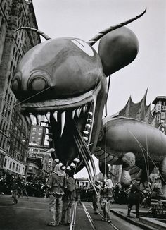 The Dragon balloon roared down the parade route at the thirteenth annual Macy's Thanksgiving Day parade in 1937.