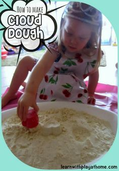 How to make Cloud Dough. This would be fun as an advent activity... Just call it magic snow instead!