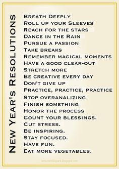 FREE printable New Year's resolution art - amazingly inspirational list ^^