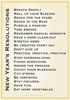FREE printable New Year's resolution art - amazingly inspirational list ^^