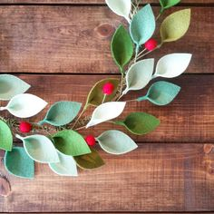 Holiday crafts christmas - 18 Modern Christmas Wreath with Felt Leaves and Holly Berries Felt Christmas Wreath Unique Christmas Decor Made to Order – Holiday crafts christmas Christmas Reef, Noel Christmas, Modern Christmas, Christmas Wreaths, Christmas Ornaments, Xmas, Felt Flowers, Paper Flowers, Unique Christmas Decorations