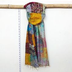 Your place to buy and sell all things handmade Kantha Stitch, Neckerchiefs, Neck Wrap, Neck Scarves, Saris, Head Wraps, Veil, Projects To Try, Patches