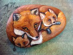 ROCKSOriginal Hand Painted Rocks  Fox Family of by Naturetrail, $125.00