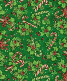 Holiday Inspirations Fabric-Candy Canes On Holly
