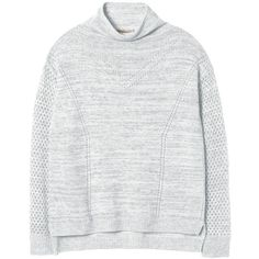 Rebecca Taylor Stitch Block Pullover (1.315 BRL) ❤ liked on Polyvore featuring tops, sweaters, grey heather, gray pullover sweater, oversized pullover sweater, pullover sweater, color block sweater and funnel neck sweater