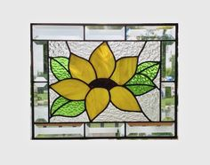 Beveled stained glass panel window sunflower abstract suncatcher stained glass window panel window hanging stained glass flower 0019 by SGHovel on Etsy https://www.etsy.com/listing/114962781/beveled-stained-glass-panel-window
