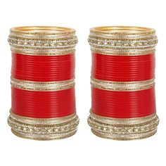 MUCHMORE Wedding Red Color Crystal Chura/Choora with Bangle Kada Set Partywear Jewelry for Women -- Click image to review more details. (This is an affiliate link) #JewelryDesign