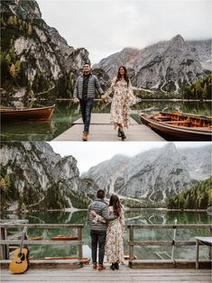 Engagement photos on the boathouse at Lake Braies in the Dolomites. Photos by Wild Connections Photography. Romantic Surprise, Surprise Proposal, Most Romantic, Proposal Photography, Travel Things, Boathouse, Marriage Proposals, Northern Italy, Short Trip