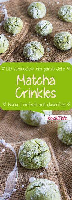 Matcha Crinkles - so lecker und einfach! #glutenfrei #fructosearm #laktosefrei #eifrei #vegan #cookies #matcha #weihnachten #plätzchen