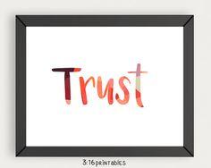 Trust 8x10 Bible Art Scripture Prints Bible Verse by 316printables
