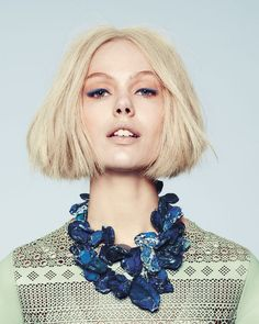 Nice messy blunt bob with middle parting. Love the colors too. - Frida Gustavsson | Neiman Marcus Spring 2013