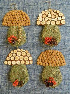 hríby so sena a rôzneho prírodného materiaálu Autumn Activities For Kids, Fall Crafts For Kids, Art Activities, Diy For Kids, Autumn Crafts, Autumn Art, Nature Crafts, Easy Crafts, Diy And Crafts