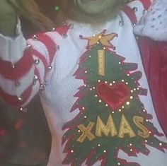 Easy DIY Grinch Sweater: 6 Steps (with Pictures) Grinch Christmas Sweater, Christmas Diy, Christmas Sweaters, Christmas Bulbs, Christmas Decorations, Ugly Sweater Party, Red Tree, Red Felt, Tree Designs