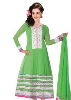 Anarkali suit in green with resham embroidery