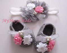 Flowery Beaded Gray Wool Crochet Baby Booties & by MyMayaMade