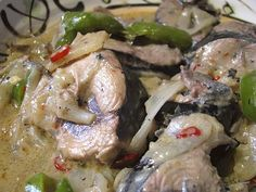 Ginataang tambakol recipe can use mackerel instead of tuna. Filipino dish. Ginataan means cooked with coconut milk