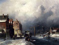 Charles Henri Joseph Leickert Figures In A Dutch Town By A Frozen