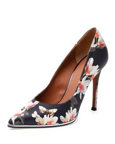 Givenchy Floral-Print Leather Point-Toe Pump